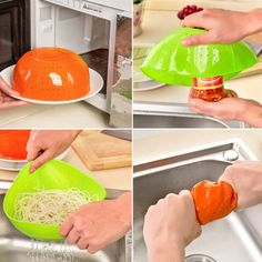 Useful Multifunction Orange Silicone Kitchen Drain Basket, Rice Washing Vegetables and Fruit Baskets Microwave Dish Cover 1pc