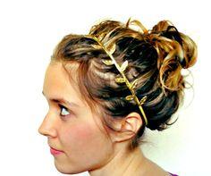 Gold Leaf Headband Fabric Leaf Grecian Headband. $11.00, via Etsy.