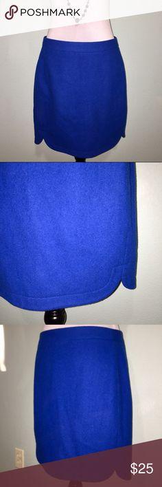 "J. Crew cobalt blue pencil skirt J. Crew bright cobalt blue pencil skirt with front notches. Fully lined. 80% wool, 20% nylon. Size 6 Tall. Approximate measurements: waist 32"", length 18"". J. Crew Skirts Pencil"