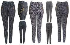 New Womens Ladies Stripes Lined Zip Slim Stretchy Pants Trouser Leggins Jeggings Mad Hatter Halloween Costume, Treggings, Trousers, Pants, Stripes, Slim, Skinny, Lady, Best Deals