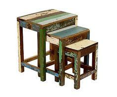 Set di 3 tavolini in legno di teak riciclato