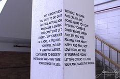 """Installation piece by Jasmine Kay Uy, """"made from vinyl; exploration of utilizing a space and having the artwork rely and interact with it. Location: Pillar in the stairwell of the UT Austin Art Building. While walking out of the building, you are presented with both sides of the pillar."""" ©2015 Jasmine Kay Uy, https://www.behance.net/kaycreative"""