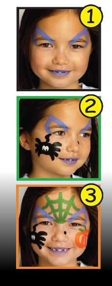 HALLOWEEN WITCH face painting with sticks for girls