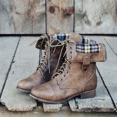 The Lodge Boots, Sweet & Rugged boots from Spool No.72 | Plaid Combat Boots