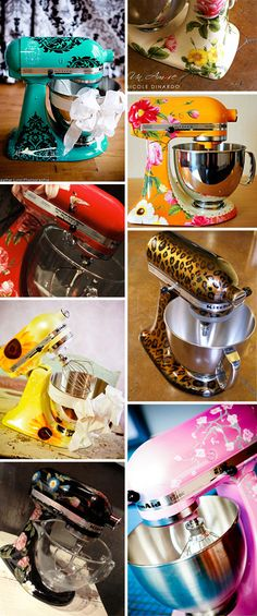 Custom painted kitchen aid mixers. Love this!
