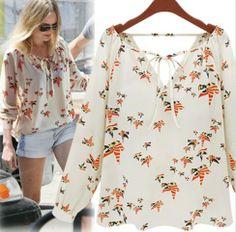 Hot Item 2013 New Fashion Ladies' elegant vintage floral print blouse shirt V-neck casual slim high quality brand designer tops $10.68