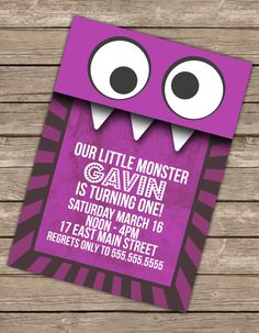Little Monster Birthday Invitation Printable by 14westgraphics, $7.00