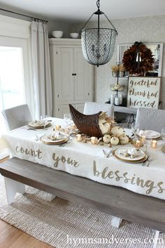 Count Your Blessings Thanksgiving Tablecloth - Hymns and Verses