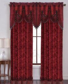"Amazon.com - HLC.ME Portofino Burgundy Jacquard Curtain Valances - 52""Inch by 28"" Inch"