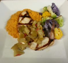 Grilled ono topped with a pineapple & apple ale chutney served with tri color cauliflower & sweet potato mashed.