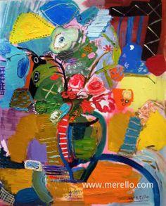 "INSPIRATION  Jose Manuel Merello.- ""Jarrón con rosas""  //  ""Vase with roses""  (100x81 cm) Mix media on canvas.  Art contemporain. Artistes peintres modernes. Nature morte contemporaine. http://www.merello.com"