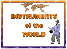 World Instrument Word Wall Cards - instrument picture, country and instrument type on each card $