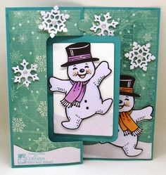 Frances Byrne using the Pop it Ups Rectangle Pull Card, Outdoor Edges and snowflake from the Spiral Circle Pull Card die sets by Karen Burniston for Elizabeth Craft Designs. - Snow