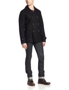 Original Penguin Men's Jacket, True Black, Medium Wool blend construction. Double-breasted buttoning closures. Front slit pockets. Single slit rear. Insulated lining through out.