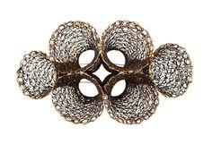 Heejin Hwang Brooch: Sensation Series II Steel wire, sterling silver, gold leaf 6 x 3 ½ x 2 ½ inches