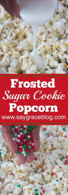 This yummy Frosted Sugar Cookie Popcorn has all of the flavor and comfort without all of the hassle of cookie baking! This yummy Frosted Sugar Cookie Popcorn has all of the flavor and comfort without all of the hassle of cookie baking! Gourmet Popcorn, Flavored Popcorn, Köstliche Desserts, Delicious Desserts, Yummy Food, Delicious Dishes, Plated Desserts, Chex Mix, Candy Popcorn
