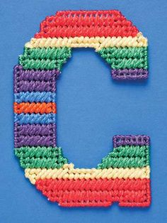 Make Wall Letters for a Child's Bedroom or Home Decor Designer Alphabet Plastic Canvas Letters, Plastic Canvas Ornaments, Plastic Canvas Christmas, Plastic Canvas Crafts, Canvas Patterns, Craft Patterns, Stitch Patterns, Crochet Projects, Craft Projects