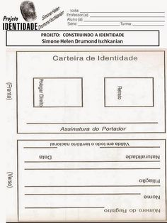 Meus Trabalhos Pedagógicos ®: Projeto Identidade - Professor, Diagram, Day Care Activities, Id Wallet, Preschool, Log Projects, Verses, Index Cards, Tags