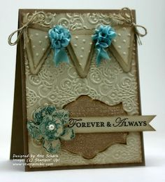 The Stampin' Schach...Shabby Chic Clean and Simple for The Paper Players.  Stamps: Everything Eleanor. Ink: Baja Breeze. Paper: Naturals Ivory cs.  E-Folder: Lacy Brocade, Perfect Polka Dots,  Punches: Petite Pennants Builder.  Die: Apothecary Art framelit.  Baja Breeze Seam Binding Roses, Pearl, Dimensionals.