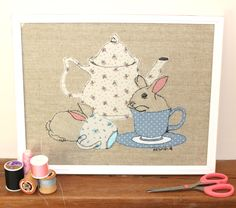 Original Nursery Illustration of a bunny rabbit with a teapot and teacup - Original free motion embroidery and applique by KatieJeanDesignsShop on Etsy https://www.etsy.com/listing/207648777/original-nursery-illustration-of-a-bunny