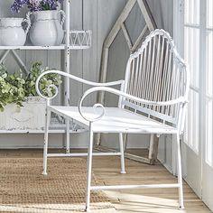 Antique Farmhouse, Farmhouse Design, Iron Bench, Take A Seat, Sunroom, Cottage, Patio, Chair, Furniture