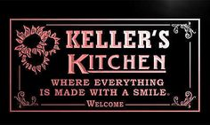 #Ps1321-r #keller's #personalized welcome kitchen bar wine neon light sign,  View more on the LINK: http://www.zeppy.io/product/gb/2/390520507021/