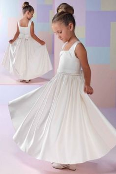 Elegant A-line Satin Flower Girl Dress