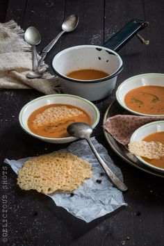 Delicious Shots: Roasted Tomato Soup with Parmesan Crisps and Basil Oil