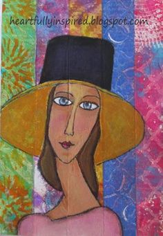 This was done with a Stabilo All pencil over a page I had glued strips of gelli plate deli paper prints. Not sure if I'm done with my portrait yet because something is telling me to give her a flower for her hat:) heARTfully inspired by Linda: Channeling One More Master