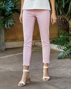d884c9163 Embroidered Cotton Jeans Pink Jeans Outfit