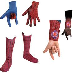 Marvel The Amazing Spider-Man Halloween Costume Accessories Bundle (Child Gloves, Boot Covers, Web Shooters)
