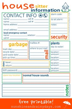 Are you heading out of town and wondering what type of information to leave for the house sitter? We have you covered with the House Sitter Printable! Emergency Binder, Family Emergency, Survival Tips, Survival Skills, Parenting Humor, Parenting Tips, House Sitting Jobs, Pet Sitting Business, Trash Day