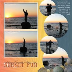 Love the use of the round pics... this would be great for some of the Seattle trip's beach scenes! #vacationscrapbook
