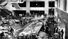 July 17, 1981.  Hyatt Regency Hotel, Kansas City, USA. Faulty building design causes fourth story walkway to collapse killing 114 people most of whom were enjoying a tea dance competition on the lobby below.  The other casualties were watching from the second to fourth floors.