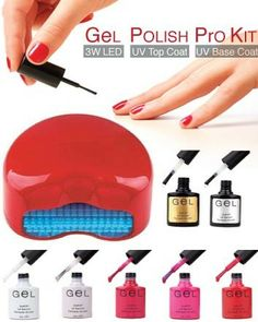 Check out this amazing deal: $49 for a DIY Shellac Nail Kit with Quick-Drying 3W LED Lamp, Gel Top Coat, Gel Base Coat, and Five Gel Polishes
