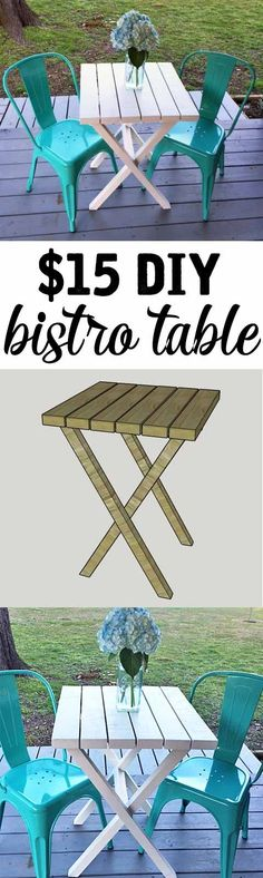 15 DIY Bistro Table made from Such an easy project for a beginner only takes about an hour Easy Woodworking Projects, Diy Wood Projects, Easy Projects, Home Projects, Wood Crafts, Woodworking Apron, Woodworking Quotes, Rockler Woodworking, Learn Woodworking