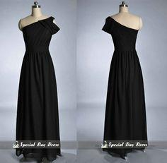 One shoulder Bridesmaid Dresses, Black  Prom Dress, long Wedding Party Dresses on Etsy, $146.81 AUD