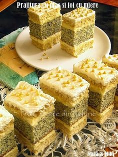 """""""Mac and sheet cake with honey"""" Romanian Desserts, Russian Desserts, Romanian Food, Sweet Recipes, Cake Recipes, Dessert Recipes, Delicious Desserts, Yummy Food, Pastry Cake"""