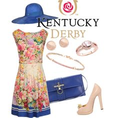 Kentucky Derby - A little blue., created by kira-86 on Polyvore