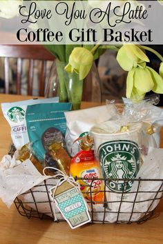 "Looking for gift ideas for the coffee lovers you know? This ""Love You a Latte"" Coffee Gift Basket makes a great gift all year long."
