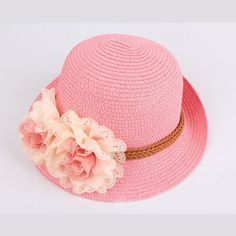 18a586b83a1 Girls Lovely Pink Flowers Straw Summer Beach hat Sweet Outdoor Travel for  Children Hat Caps Baby