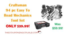 TODAY ONLY! Get the Craftsman 94 pc Easy to Read Mechanics Tool Set for ONLY $39.99 (was $59.99)! Don't miss out on this deal!  Click the link below to get all of the details ► http://www.thecouponingcouple.com/craftsman-94-pc-easy-to-read-mechanics-tool-set/ #Coupons #Couponing #CouponCommunity  Visit us at http://www.thecouponingcouple.com for more great posts!