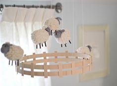 Light Blue Nursery Soft Lambs Sheep Baby Room Cream White