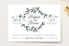 """""""Floral Wreath"""" - Rustic Wedding Invitation Petite Cards in Fresh by Kelly Schmidt."""