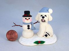 Bichon Frise and Snowman Handsculpted Clay by designsbyginnybaker, $24.95