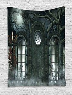 Equally cool and modern, Halloween metal wall art is a great option as it provides a room with depth and texture.  Especially when you combine it with some of the other Halloween decorative elements I mentioned above.  As a result your home will look frighteningly cool and trendy for Halloween 2017. Horror House Decor Tapestry by Ambesonne, Moon Halloween Ancient Historical Gate Gothic Background Candles Fiction View, Wall Hanging for Bedroom Living Room Dorm, 40 X 60 Inches, Hunter Green