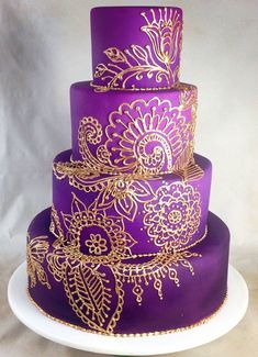 Henna Wedding Cake, Fancy Wedding Cakes, Indian Wedding Cakes, Amazing Wedding Cakes, Amazing Cakes, Gorgeous Cakes, Pretty Cakes, Cute Cakes, Henna Cake Designs