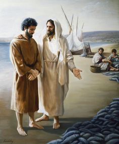 "Jesus Christ asks Peter ""Lovest Thou Me More Than These?""    - from LDS.org images   (artist not given)"