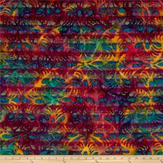 Indian Batik Kaleidoscope Swirl Purple/ Teal from @fabricdotcom  From Textile Creations, this Indian batik is perfect for quilting, apparel and home decor accents. This unique batik print features a woven striped background and an abstract design on top of that. Colors include green, purple, blue, orange, and brown.