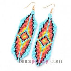 Fashion mix color plastic beading earrings